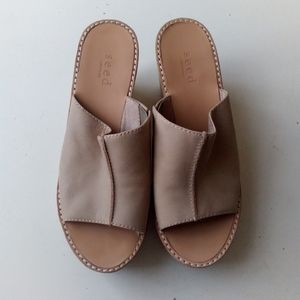 SEED Leather open toe Slip on wedges size 37